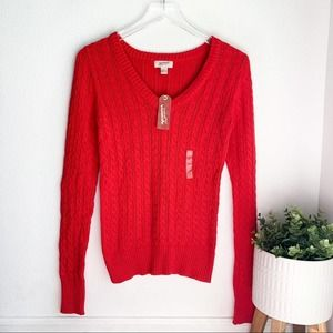 Arizona red cable knit v neck sweater